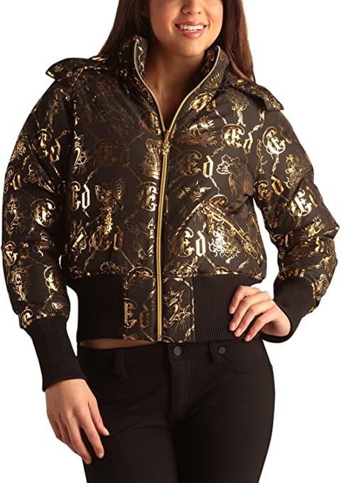 The Ed Hardy Womens Logo Puffer Jacket