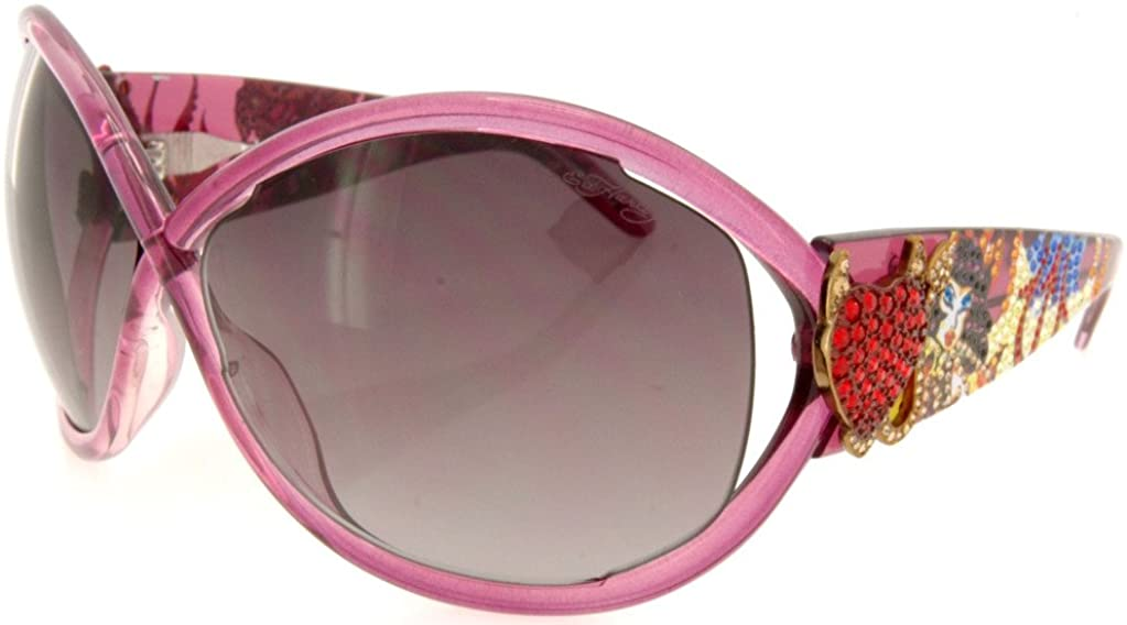 New Ed Hardy Sunglasses Brie White Horn with Case and Box